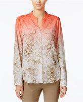 Calvin Klein Ombré Roll-Tab Sleeve Blouse