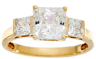 Diamonique Three Stone Princess Cut Ring,14K Gold