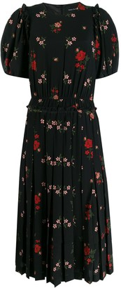 Simone Rocha Pleated Floral-Print Dress