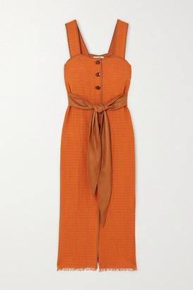 Nanushka Rita Vegan Leather-trimmed Frayed Cotton-blend Midi Dress - Orange