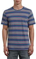 Volcom Men's Belfast Crew Short Sleeve Striped Knit Pocket Shirt
