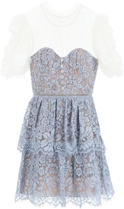 Self-Portrait MINI DRESS IN LACE AND TULLE 10 Light blue, White