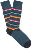 Paul Smith - Striped Mélange Stretch Cotton-blend Socks
