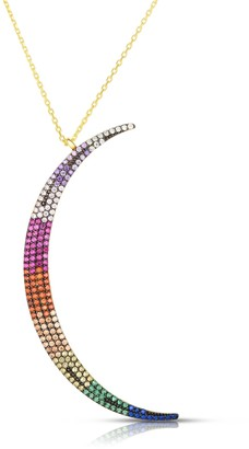 Sphera Milano 14K Yellow Gold Plated Sterling Silver Pave Rainbow CZ Moon Pendant Necklace