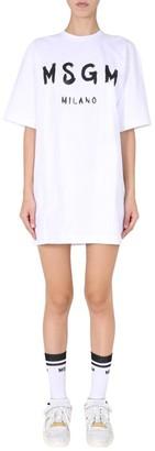 MSGM Paint Brushed Logo T-Shirt Dress