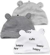 Carter's 3-Pk. Animal Ear Cotton Hats, Baby Boys