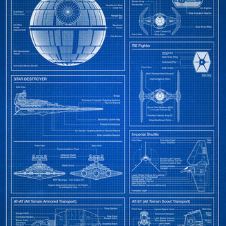 Star Wars Trends International Imperial Blueprint Poster, Premium Unframed