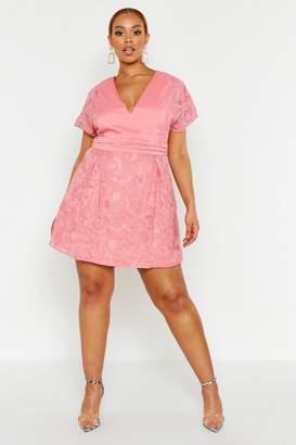 boohoo Plus Lace Panel Woven Skater Dress