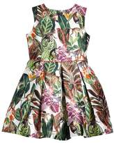 Oscar de la Renta Jungle Monkey Mikado Party Dress