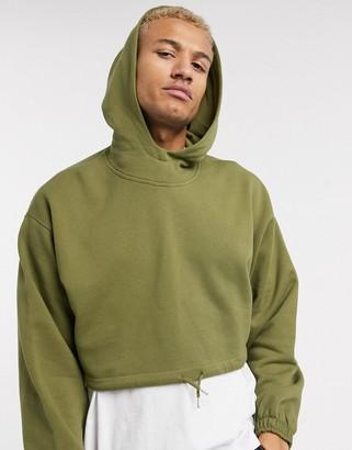 ASOS DESIGN oversized cropped gathered hem hoodie in dark khaki