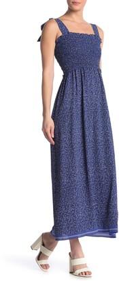 Max Studio Tie Strap Smocked Bodice Maxi Dress