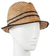 Merona Women's Straw Hat Fedora Tan Packable with Navy Border