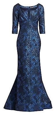 Zac Posen Women's Jacquard Metallic Gown