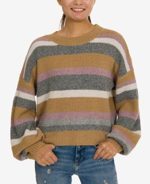 Hippie Rose Juniors' Balloon-Sleeve Striped Sweater