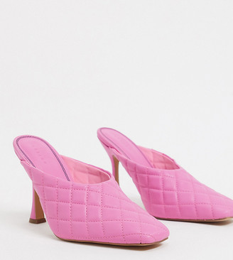 ASOS DESIGN Wide Fit Popeye quilted high heeled mules in pink