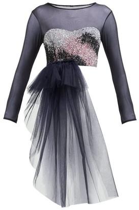 Germanier - Bead-embellished Bandeau-panel Tulle Top - Womens - Black