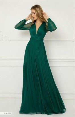 Cristallini Long Sleeve Pleated Tulle Gown