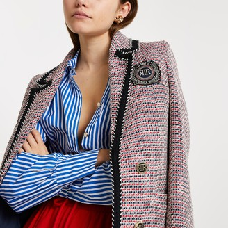 River Island Womens Red boucle 'RIR' blazer