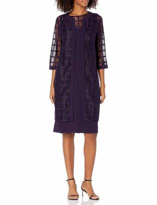 Maya Brooke Women's Windowpane Duster Jacket Dress