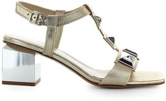 Jeannot Platinum Leather Mid-heeled Sandal