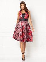 New York & Co. Eva Mendes Collection - Wilhelmina Jacquard Flare Dress - Petite