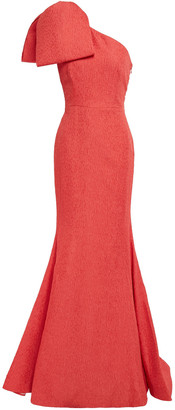 Rebecca Vallance Francesca One-shoulder Bow-detailed Cloque Gown