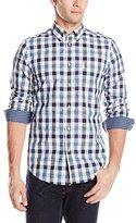 Ben Sherman Men's Long Sleeve Space Dyed Gingham Woven Shirt
