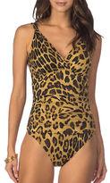 Lauren Ralph Lauren V-Neck Scoopback Leopard Print One-Piece