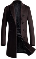 OCHENTA Men's Slim Fit Winter Wool Peacoat Overcoat Black Grey US M - Asian XL
