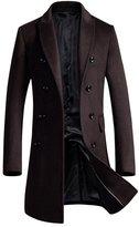 OCHENTA Men's Slim Fit Winter Wool Peacoat Overcoat Navy Blue US M - Asian XL