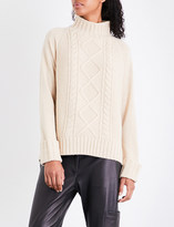 Theory Waffle and cable-knit turtleneck wool jumper