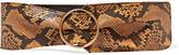 Saint Laurent Snake-effect Leather Waist Belt - Bronze