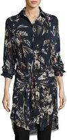 Fuzzi Long-Sleeve Button-Front Botanical-Print Tunic, Navy