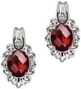 Gem Stone King 2.82 Ct Checkerboard Red Garnet and White Diamond 14k White Gold Earrings