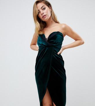 ASOS DESIGN Petite velvet wrap bandeau mini dress with lace trim