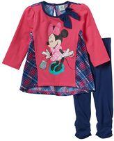 Disney Disney's Minnie Mouse Baby Girl Plaid Back Top & Leggings Set
