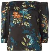 Dorothy Perkins Petite Satin Floral Bardot Top