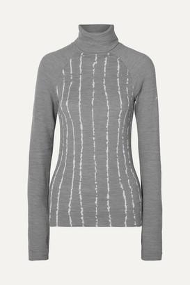 FALKE ERGONOMIC SPORT SYSTEM Striped Wool-blend Turtleneck Top - Light gray