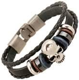 The November Nocturne Metal Skull Bone Wood Beaded Handmade Punk Style Braided Leather Wrist Bracelet