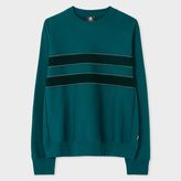 Paul Smith Men's Teal Organic-Cotton Textured-Stripe Sweatshirt