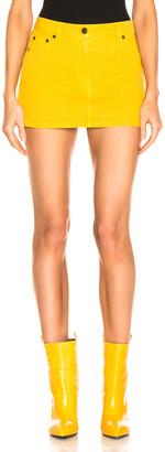 Alberta Ferretti Denim Mini Skirt in Yellow   FWRD