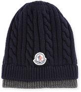 Moncler Bicolor Logo Cable-Knit Beanie Hat