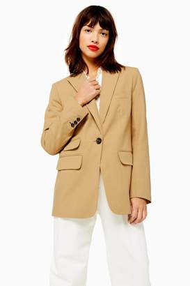 Topshop Womens Single Breasted Jacket With Linen - Sand