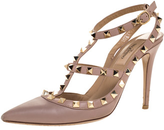Valentino Pink Leather Studded Strappy Pointed Toe Sandals Size 37
