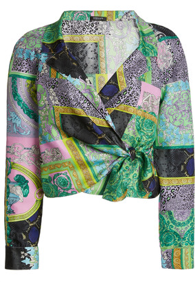 Versace Cropped Patchwork-Print Silk Twill Tie-Front Shirt