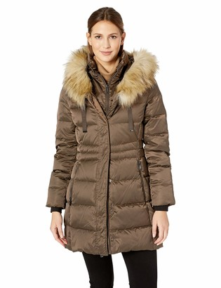 T Tahari Women's Fitted Puffer Coat with bib Detail and Faux Fur Strip