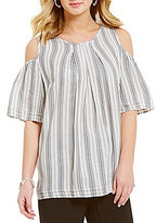 M.S.S.P. Round Neck Short Sleeve Cold Shoulder Striped Blouse