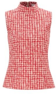 Mock-neck sleeveless top in Italian checked jacquard