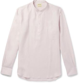 De Bonne Facture Grandad-Collar Linen Half-Placket Shirt