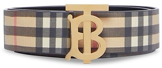 Burberry Monogram Hand-Painted Vintage Check E-Canvas Leather Belt